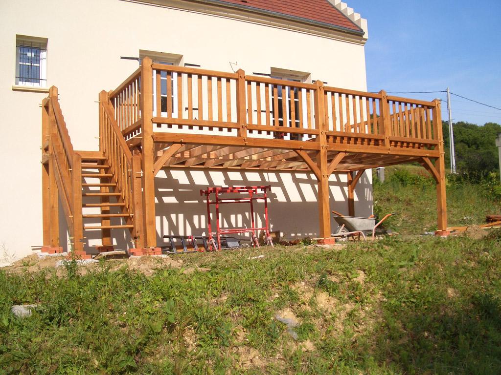 Terrasse avec accès sans marche et gardecorps vitrage feuilleté
