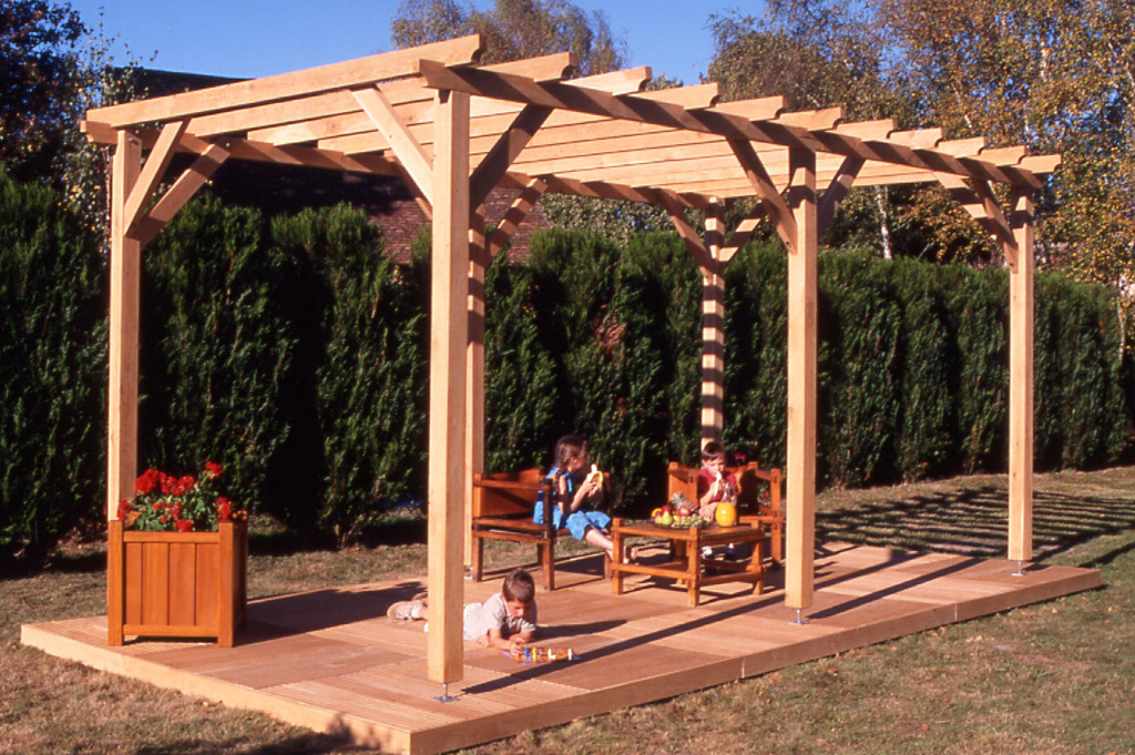 pergola tecsabois charpente. Black Bedroom Furniture Sets. Home Design Ideas